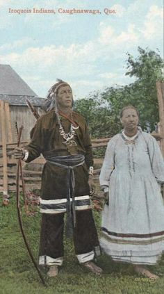 Tha-nen-ri-shon (aka He Excites The People's Minds) and his wife at Kahnawake, Quebec -Iroquois (Mohawk) - circa 1910