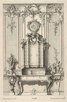 Wall Elevation with a Secretaire, from 'Schreibtische' Franz Xavier Habermann, German