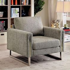 Benzara Lauren II Transitional Single Chair In Gray Fabric Upholstered Arm Chair, Sofa Chair, Armchair, Living Room Chairs, Living Room Furniture, Home Furniture, Single Chair, Upholstery Foam, Contemporary Chairs