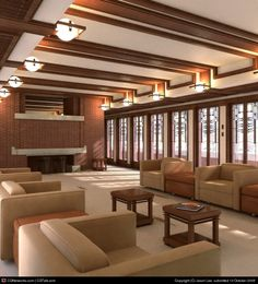 Robie House Interior Rendering Frank Lloyd Wright Hyde Park Illinois 1909