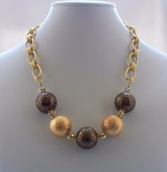 Necklace Matte Gold Bronze and Swarovski by ElsaWadesdesigns, $65.00