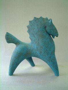Poul Smith. <<>> War horse - 39 x 34cm - hand built clay -