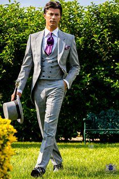 Chaqué italiano a medida gris con solapa de pico y un botón corozo en tejido mixto lana Príncipe de Gales. Traje de novio 1698 Colección Gentleman Ottavio Nuccio Gala.