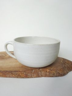White tea Cup Handmade Ceramic Creamy spotted by viCeramics