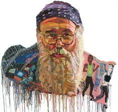 Joe Cotter and the original Outside In Mural | Jo Hamilton Art  - a crocheted portrait!