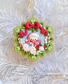 Ornamento di scena di artigianali polimero argilla Natale pupazzo di neve