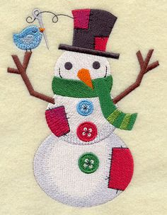 A crafty patchwork snowman machine embroidery design. Snowflake Embroidery, Embroidery Cards, Machine Embroidery Projects, Machine Embroidery Applique, Christmas Embroidery, Embroidery Ideas, Christmas Fabric, Christmas Trees, Snowman Quilt