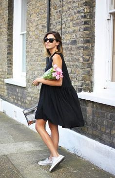 street casual ~ simple black dress, converse