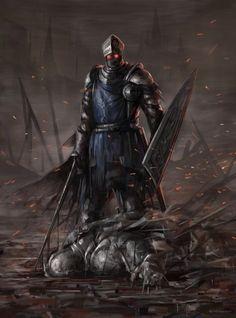 Art of Dark Souls Medieval Fantasy, Dark Fantasy, Fantasy Art, Dark Souls 3, Demon's Souls, Soul Saga, Knight Art, Fantasy Warrior, Fantasy Creatures