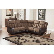 Sectional Sofas | Wayfair - End reclining seats bookend the exceptionally comfortable Vera collection. The channel tufted chocolate textured plush microfiber seating is accented with dark brown bi-cast vinyl base and sides. Pull tab recliners extend the end seating of this sectional offering with the center seats remaining fixed, allowing you, your family and friends to relax in comfort. $ 1,329.99
