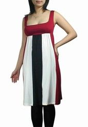 Retro Dress with Multi-color Panels and Red Bust