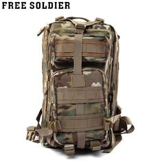 Free Soldier Outdoor Nylon Fabric Bag Camping Hiking Mountain-Climbing Backpack for Outdoor Traveling Climbing Hiking 3 Colors