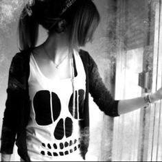 Love the skull shirt and cardigan!