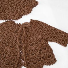 Crochet baby sweater in a soft wool blend yarn in by PinkyRoo, $43.00