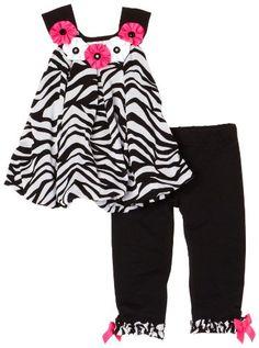 Rare Editions Baby-Girls Infant Zebra Bubble Top Legging Set
