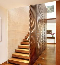 new wood room divider-stairway