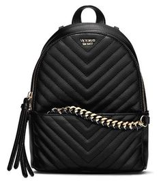 d049ceaf5 NWT Victoria's Secret Pebbled V-Quilt Small City Backpack - Black - FREE  SHIP Pequena