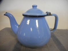 Vintage Blue Enamel Teapot Primitive Kitchen Decor Tea Pot