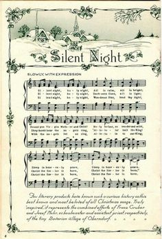 Traditional Silent Night sheet music for carollers.