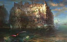 Dragon flying towards the kingdom wallpaper