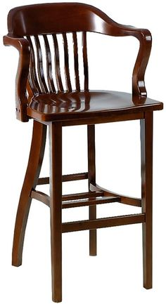 Unique Wooden Swivel Bar Stools with Back and Arms