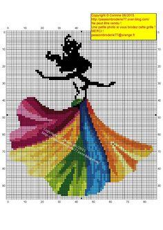 0 point de croix femme et robe multicolore - cross stitch colourful dress girl
