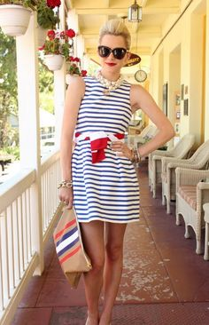 red, white, blue, fashion, dress, nautical, patriotic, USA, 4th of July