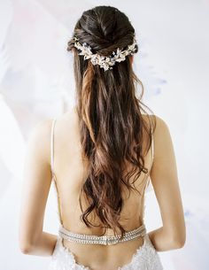 Half-up, half-down natural waves bridal hairdo with delicate halo headpiece and sexy couture wedding gown by Galia Lahav // 7th Heaven: Bridal Veil Trends and Inspiration for 2016 - 2017 {Facebook and Instagram: The Wedding Scoop}