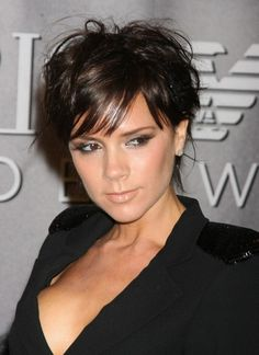 Victoria Beckham Short Hairstyle - Layered Pixie Cut with Bangs