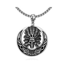 Then angry chief pendant, 6x5cm heavy stainless steel round skull pendant with 60cm stainless chain.  #RearTone #SkullPendant #GothicFashion #pendant