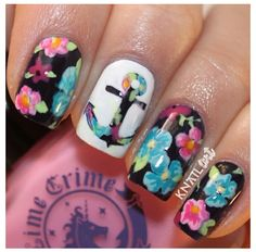 Nautical , floral nail design