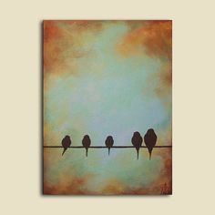 "Custom Portrait Painting of Family as Birds, 18"" x 24"", Birds on a wire"
