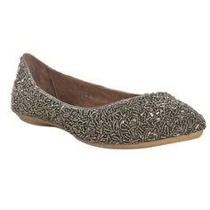 Pewter Beaded Sprinkles Flat by Jeffrey Campbell via Shape: Wear them with dark jeans or black trousers. #Shoes #Jeffrey_Campbell #Shape