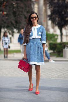 Chanel dress and bag   - HarpersBAZAAR.com