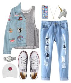 """""""Cool days"""" by donut-care ❤ liked on Polyvore featuring Chicnova Fashion, Converse, Zero Gravity, Alison Lou, Swatch, Bobby Berk Home, cool, Rad and patchesandpins"""
