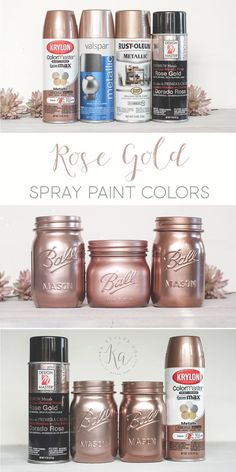 Rose gold spray paint colors. Krylon, Design Master and Rust-oleum colors samples.