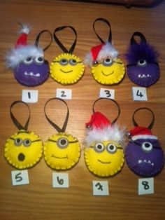 Hand-made padded felt minions - various designs by Mesmerise-Ink (check out our facebook page) #minions #despicableme #Christmas #decorations #handmade