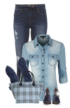 """""""More Denim"""" by valsal ❤ liked on Polyvore featuring Frame Denim, LE3NO, Burberry, Fendi, Dorothy Perkins and denim"""