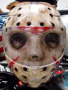 Custom Painted Jason from Friday the 13th Helmet