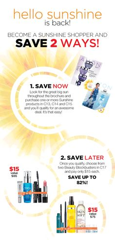 All those that qualified can now purchase their Hello Sunshine Beauty Bundle in C17! I have 22 available at the $15 price. Sunshine Shoppers orders will be taken first. Hello Sunshine, Whats New, How To Know, Avon, How To Become, Beauty, Beauty Illustration