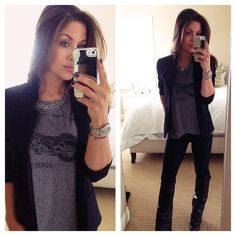 @Andee Layne The HONEYBEE: Blazer/Rocker tee/Statement necklace and Cuffed Boots