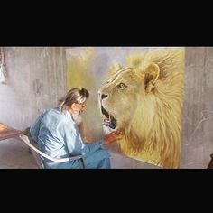 the artist's canvas  King of the Jungle. Here's artist Sukhpreet Singh (@sukhpreetartist) from Punjab creating an amazingly detailed and large painting of a lion. Wow. It's a beautiful sight to see when someone shares their talents with the world.  #sikhart