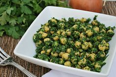 Chickpea Salad with Cilantro and Spinach