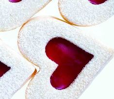 Raspberry sugar-cookie hearts-great for valentines day! Holiday Cookie Recipes, Best Cookie Recipes, Holiday Cookies, Baking Recipes, Sweet Recipes, Valentine Cookies, Easter Cookies, Birthday Cookies, Valentines Sweets