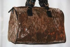 Galian New York Women's Hand Bag Copper Toned Faux Snake Skin Purse | eBay
