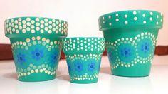 Caribbean green hand painted flowerpots. Macetas pintadas a mano. Verde caribe. Facebook: A'cha Pots.