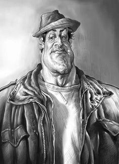Sylvester Stallone by Amir Taqi Funny Caricatures, Celebrity Caricatures, Celebrity Portraits, Cartoon Art, Cartoon Characters, Stallone Rocky, Silvester Stallone, Caricature Drawing, Cool Cartoons
