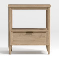 Simple and clean, our Bodie Nightstand is a timeless kids furniture design that's totally comfortable in modern homes. This storage essential includes a spacious open compartment, plus a drawer with a brushed gold metal pull below, so there's plenty of room for books, toys and more. Plus, the nightstand's gorgeous natural grain will lend a touch of warmth to your kid's room. Crafted to last and grow with families, it makes the perfect companion piece to our Bodie Wide Dresser and Bodie Twin…