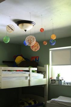 Paint Push Lights To Make Your Very Own Solar System This Looks - Hanging solar system for kids room