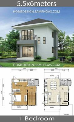 Small House Plans with 1 Bedroom - Home IdeasYou can find Small house design and more on our website.Small House Plans with 1 Bedroom - Home Ideas Mini House Plans, Narrow House Plans, House Plan With Loft, Small House Floor Plans, Model House Plan, New House Plans, Loft House, Garage House, Car Garage